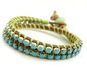 Boho Rhinestone Double Wrap Leather Bracelet. Lime Green and Sky Blue.