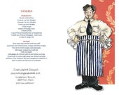 Sangria Waiter Greetings Card