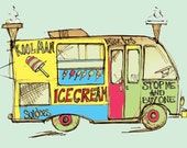Ice Cream Van Greetings Card
