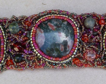 SALE rhyolite 3 stone freeform beaded cuff bracelet was 130 US dollars