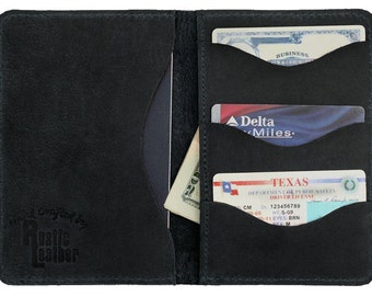 Passport Wallet, Rustic Leather Distressed Charcoal Black