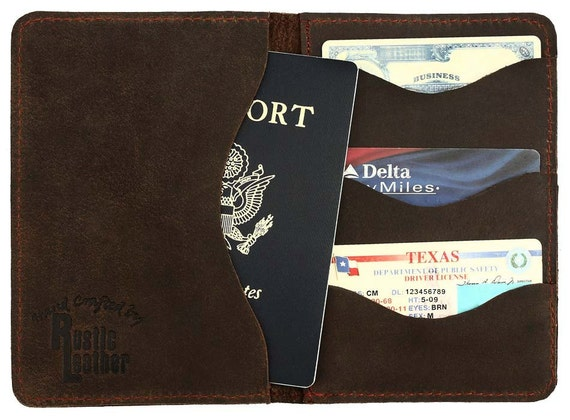Passport Wallet, Rustic Leather Distressed Rich Chocolate Brown