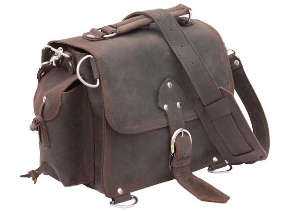 Leather Satchel Messenger Bag, Purse SMALL - Rich Chocolate Brown Distressed, Rugged