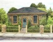 "Stone Pen and Ink Watercolor Pastel  Architectural Art, California Home, Original Home Decor Art 15"" x 10.5"" Fine art brown green blue"