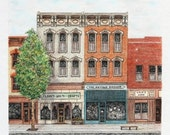 """Indiana Main Street Brick Architectural Art Pen and Ink Pastel Cityscape Home Wall Decor 12"""" x 11"""""""