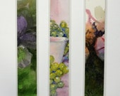 "Handmade art bookmark laminated watercolor with fruit grapes cup and flowers 1.5"" x 8"" still life"