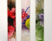 "Watercolor laminated bookmarks 1.5"" x 8"" with apples grapes and flowers set of 3 fruit floral red green purple"