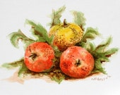 "Still life watercolor painting, red yellow orange garden tomato fruit vegetables original 8"" x 6"" summer"