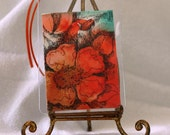 Orange poppy abstract aceo and gift tag with ribbon original watercolor
