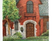 """Neo Gothic Architectural Art  Pen and Ink Pastel Original Wall Home Decor 10.75"""" X 11.25"""" small format art red green Brick House"""