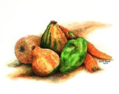 """Still life of fall gourds peppers carrots onions original pen and ink 9"""" x 6"""" orange green wall decor small format art vegetable art"""