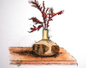 """Red dried flower watercolor pen and ink original carved wood flower pot still life 6"""" x 6"""" sfa"""
