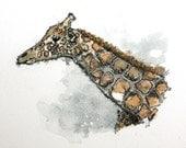 "Watercolor Giraffe original 6"" x 5"" wild life animal art pen and ink nursery art gray brown"