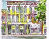 """Abstract Indiana Watercolor Architectural Art Pen and Ink 8"""" x 8"""" Streetscape Wall Art Yellow Purple"""
