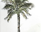 """Palm tree watercolor original abstract painting 5 1/2"""" x 9"""" pen and ink sfa"""