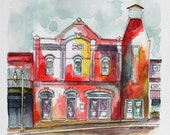 """Western Architectural Art Watercolor Painting Pen and Ink 8"""" x 8"""" Abstract Streetscape Southwestern Red Wall Decor Art"""