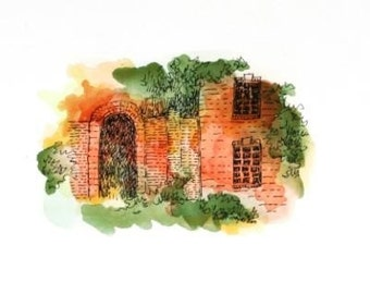 "Architectural Art Abstract Watercolor Orange Green Pen and Ink Original home decor 7"" x 5"""