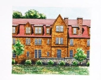 New England Architectural Watercolor Painting,  Pen and Ink Original Home Wall Decor 8 1/2 x 7 1/2 small format art, orange red green