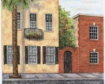 """Florida Cityscape Stucco Brick Architectural Art Pen and Ink Pastel Original  Yellow Red Home Wall Decor 12"""" x 10"""""""