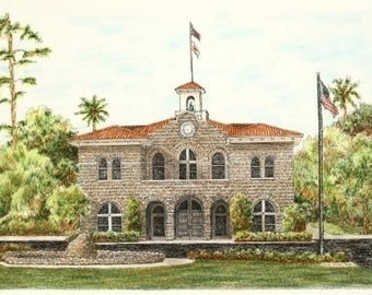 "Northern California Stone Courthouse Architectural Art Pen and Ink Pastel Original Home Wall Decor 16"" x 11"""