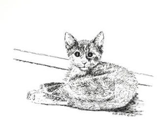 "Kitten Cat Pet Portrait Pen and Ink Wall Decor 6"" x 5"" Feline Animal Art Drawing Black White Nursery Art"