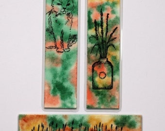 """Bookmark Laminated, cat vase flower with flowers cattails original pen and ink watercolor art 1.5"""" x 6"""" green orange yellow"""