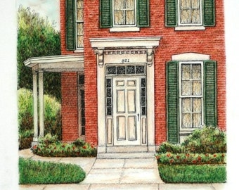"Indiana Entryway Architectural Art Pen and Ink Pastel Original Wall Home Decor 8.5"" x 8.5""  red brick green"