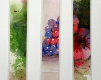"Watercolor laminated bookmarks grapes, flowers, and abstract original art 1.5"" x 8"" fruit still life floral blue green red"