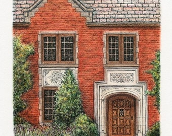 "Pen and Ink Pastel Architectural Art Neo Gothic Original Door Art Home Decor 7.5"" x 9.5"" sfa red brick building"