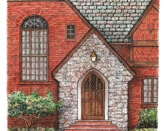 "Tudor Style Entryway Artwork, Original Pen and Ink with Pastel, Wall decor 7.75"" x 8.5"" sfa Ohio Brick Architectural Art, Urban Art"