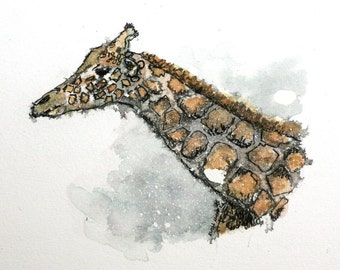"Watercolor Giraffe original 6"" x 5"" wild life animal art pen and ink nursery art gray brown"