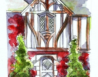 "Architectural Art, Red Tudor Entryway, Watercolor Pen and Ink 4"" x6"" Abstract Original Streetscape Wall Art sfa Purple Home Portrait"