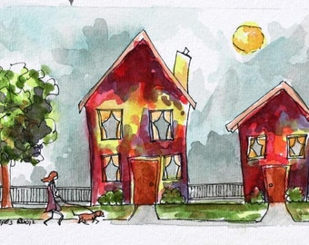 """Whimsical Architectural Art with Dog Walker Abstract Watercolor Pen and Ink 5"""" x 3"""" Streetscape Original Red Children's Wall Art"""