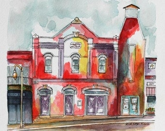 "Western Architectural Art Watercolor Painting Pen and Ink 8"" x 8"" Abstract Streetscape Southwestern Red Wall Decor Art"
