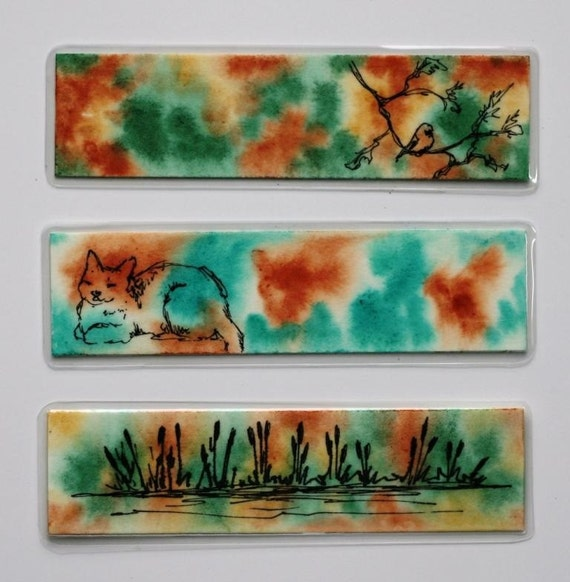 """Laminated watercolor  pen and ink Bookmarks with cat bird and cattails 1.5"""" x 6"""" Original art mixed media"""