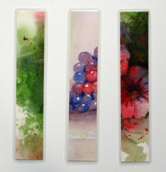 """Watercolor fruit laminated bookmarks grapes, flowers, and abstract original art 1.5"""" x 8"""" still life fruit floral blue green red"""