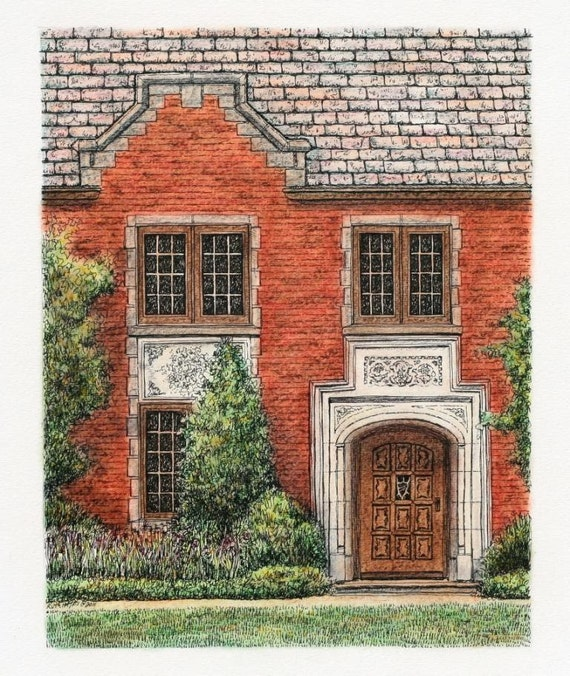"""Neo Gothic  Pen and Ink Pastel Architectural Art Original Wall Home Decor 7.5"""" x 9.5"""" sfa red brick house"""