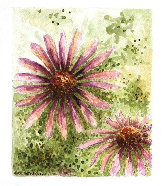 "Purple cone flowers watercolor abstract original art 5"" x 6"" sfa pointillism green mauve wall art decor"