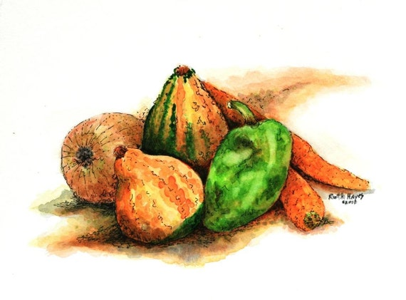 "Still life of fall gourds peppers carrots onions original pen and ink 9"" x 6"" orange green wall decor small format art vegetable art"