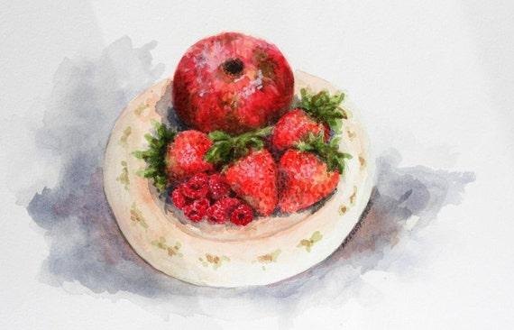 "Red fruit watercolor painting still life original 11"" x 8"" raspberries strawberries pomegranate sfa kitchen art"