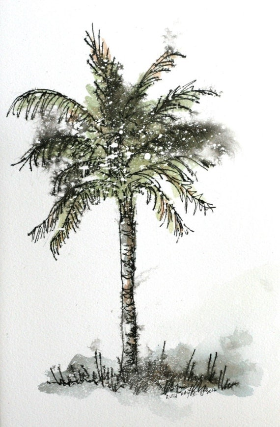 "Palm tree watercolor original abstract painting 5 1/2"" x 9"" pen and ink sfa"