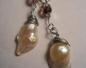 Rose Blanche white rose pearl briolette  French bohemian earrings