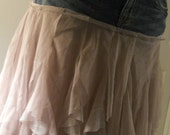 Mauve tulle jean skirt ruffled chiffon dusty rose lilac lace French bohemian Renaissance Denim Couture