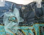 Minuit Turquoise jean skirt midnight blue sapphire turquoise silk aqua tulle bohemian goddess fairy Renaissance Denim Couture
