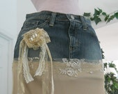 Michelle Ma Belle beige tulle vintage lace ruffled Renaissance Denim Couture bohemian jean skirt with rose and rhinestone brooch