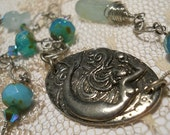 Sirène de Mer mermaid necklace genuine aquamarine bohemian beach goddess turquoise  teal seafoam green Swarovski crystal