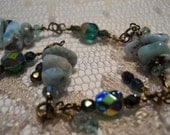 Nymphéa bracelet larimar genuine gemstone aquamarine emerald crystal sea foam turquoise blue mermaid sea goddess bohemian Celtic  nymph