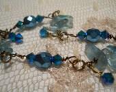 Sirène Bleue bracelet genuine apatite turquoise crystal blue mermaid shimmery aqua sea goddess beachy surfer chic ultra femme bohemian
