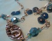 Déesse de la Mer mermaid necklace teal blue apatite genuine gemstone turquoise crystal beachy bohemian sea goddess surfer chic