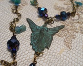 La Fée Bleue blue fairy necklace teal verdigris patina midnight crystal green aventurine gemstone Celtic goddess wood nymph bohemian faerie